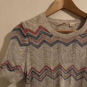 Anthropologie Pointelle Chevron Pullover Sweater